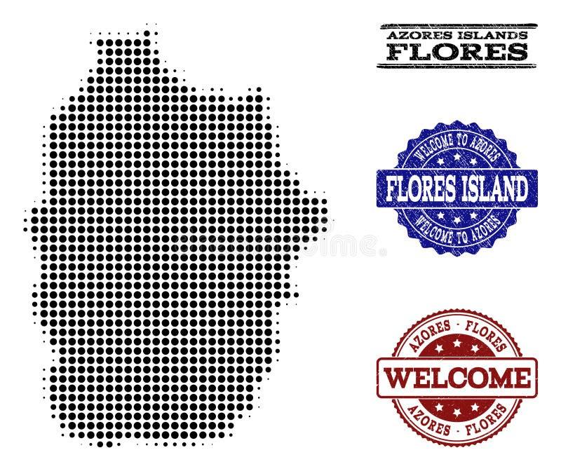 Welkom Samenstelling van Halftone Kaart van het Eiland van de Azoren - Flores-en Geweven Zegels royalty-vrije illustratie