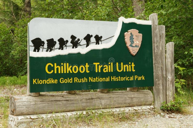 Welkom teken bij ingang aan Chilkoot-Sleep in Skagway Alaska stock afbeelding