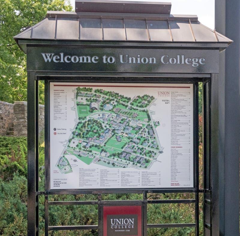 Welkom teken en kaartunie Universiteit royalty-vrije stock afbeeldingen