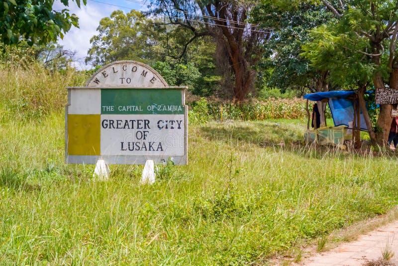 Welkom teken in Lusaka stock foto