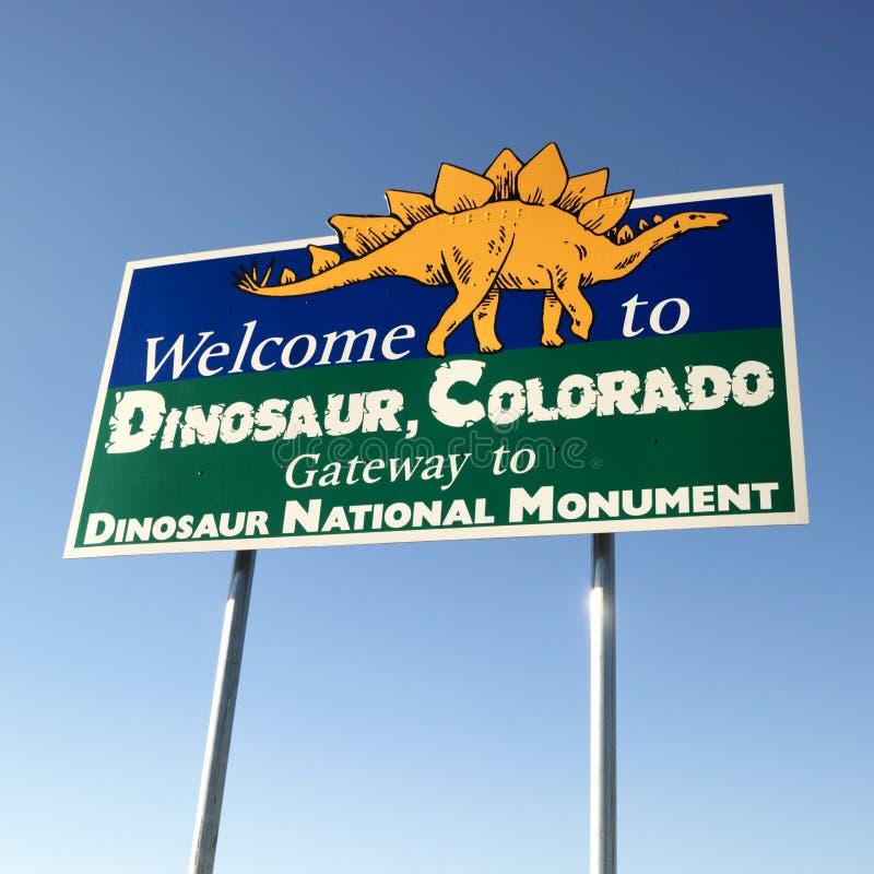 Welkom teken voor Dinosaurus royalty-vrije stock fotografie