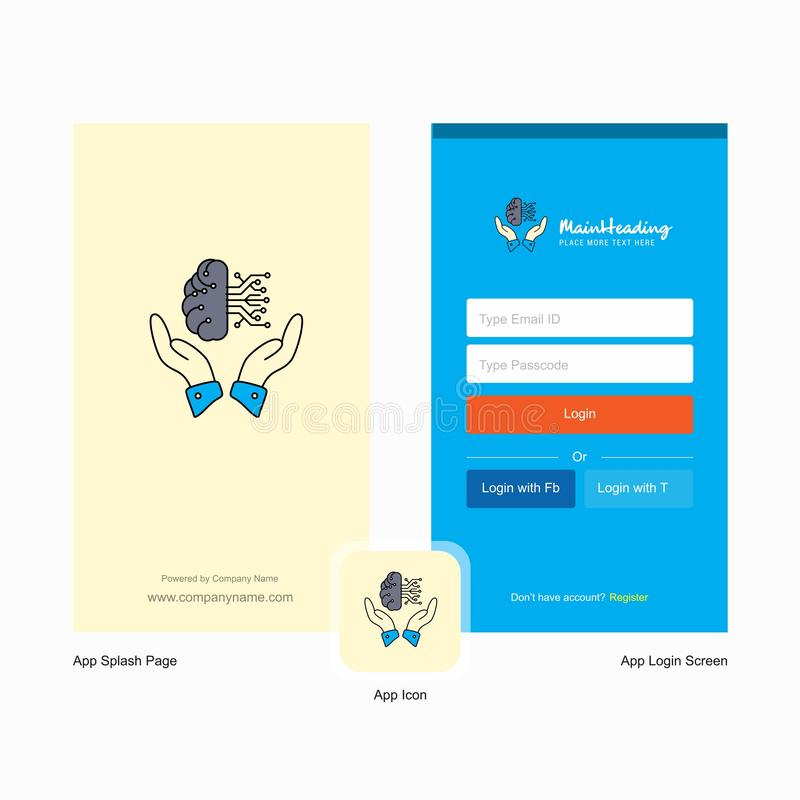 Welkomstscherm van de bedrijf het Veilige wolk en Login Paginaontwerp met Embleemmalplaatje Mobiel Online Bedrijfsmalplaatje vector illustratie