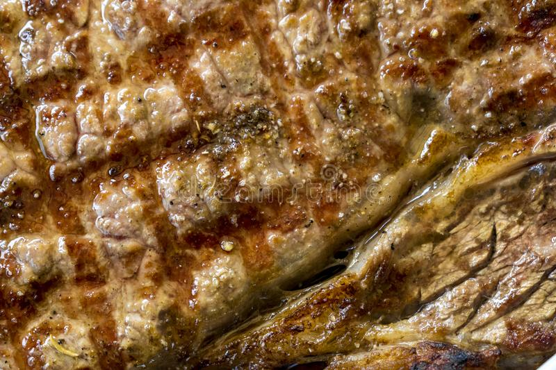Well Coooked Steak Closeup stock images