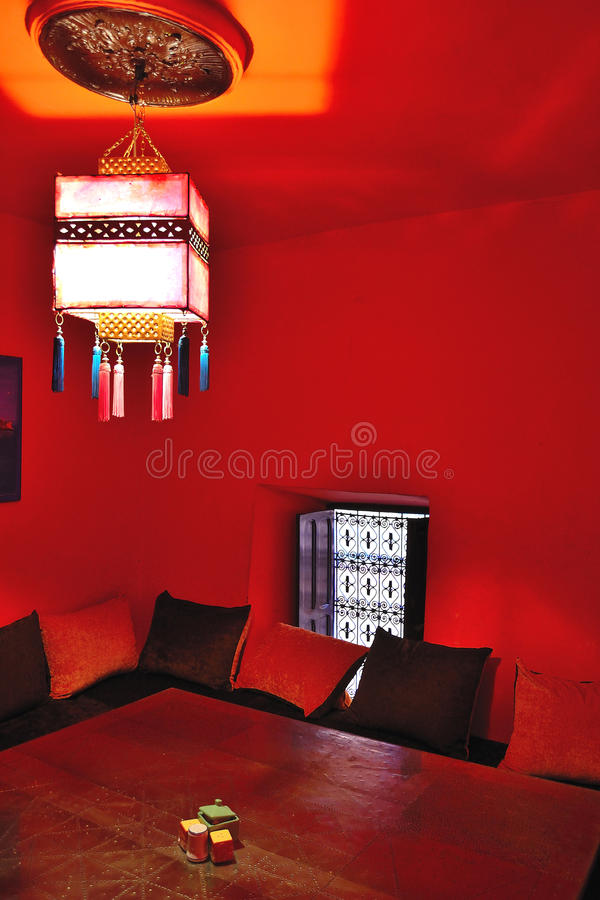 Well decorated arabic cafe in marrakesh royalty free stock photography