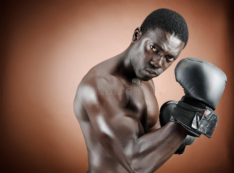 Download Well defined boxer stock photo. Image of exercise, black - 21134440