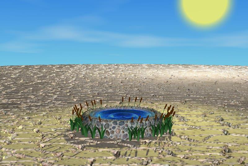Well in desert vector illustration