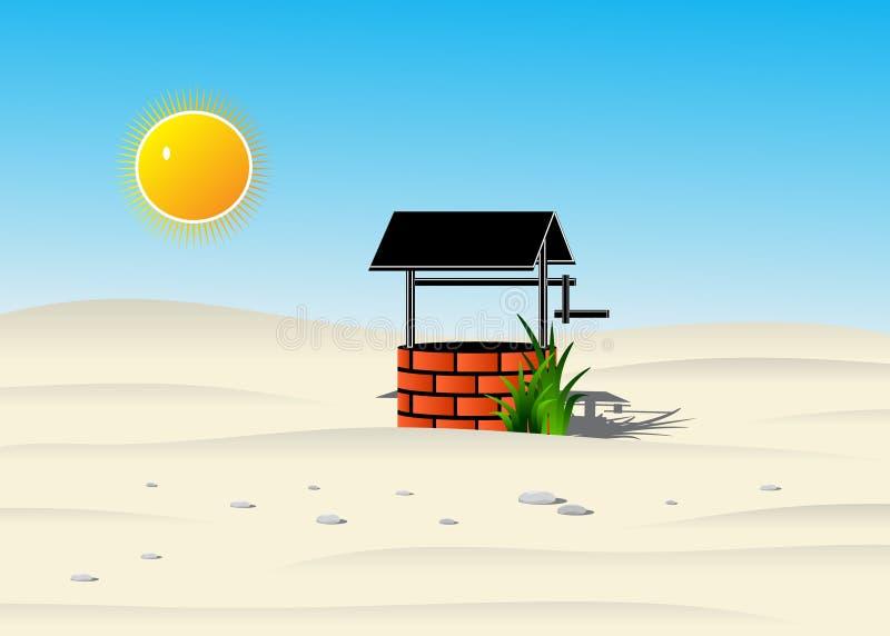 Well in the desert. vector illustration