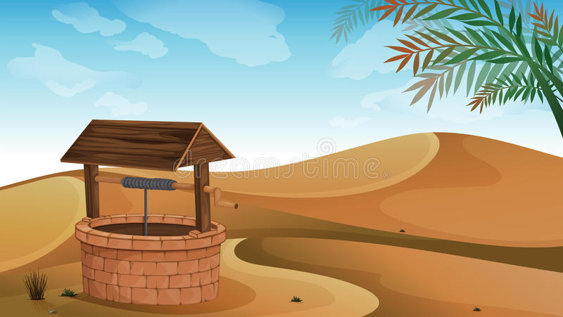 A well at the desert stock illustration