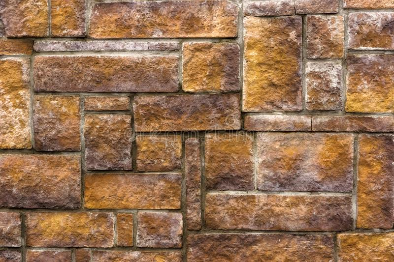 Asymmetric brick wall decoration background royalty free stock image