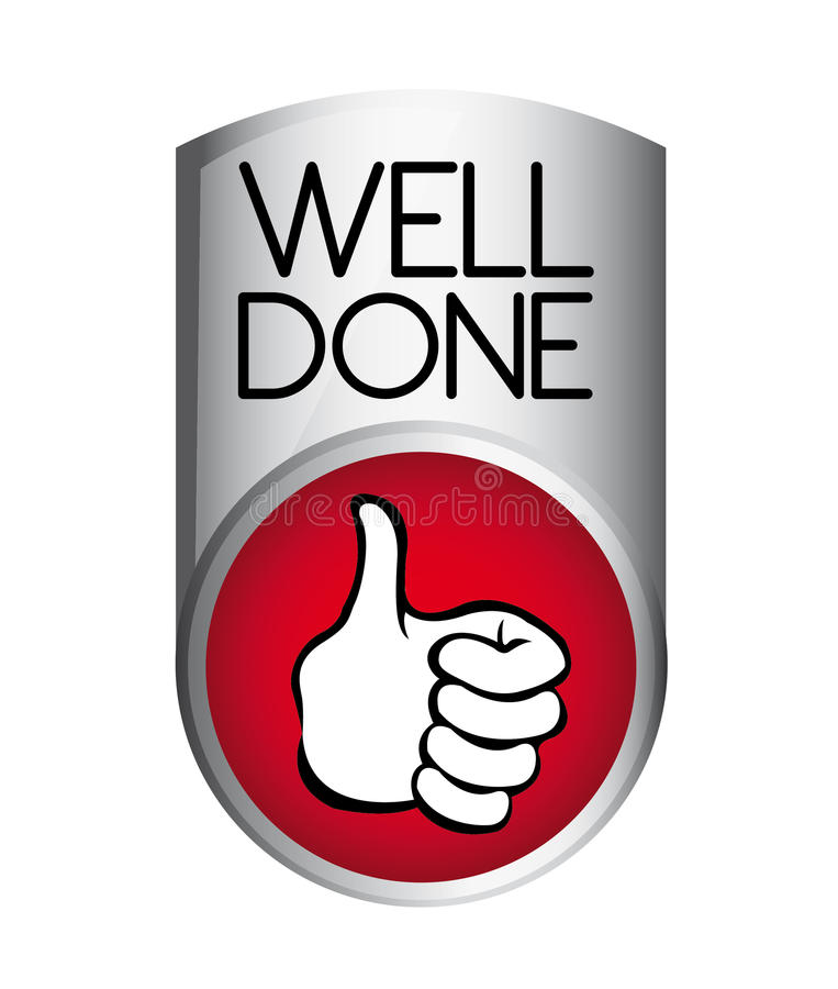 Well done button stock illustration
