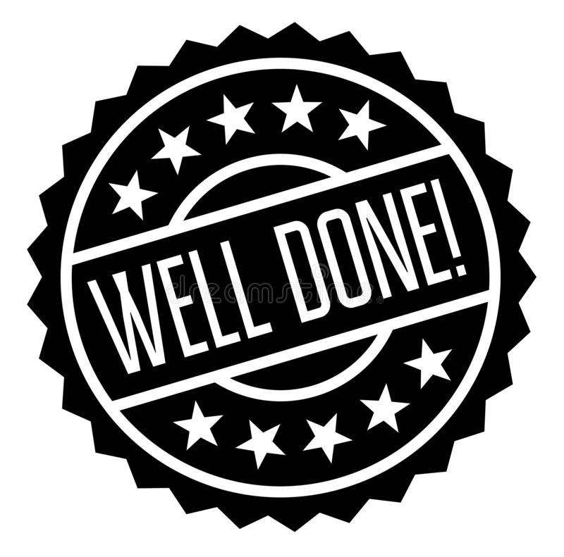 Well done stamp on white. Background. Sign, label, sticker vector illustration