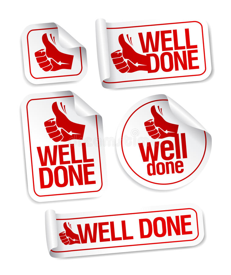 Well done stickers set. Well done stickers with hand thumbs up symbol stock illustration