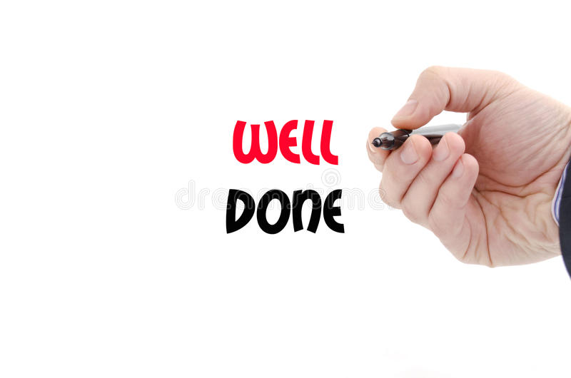 Well done text concept stock photo