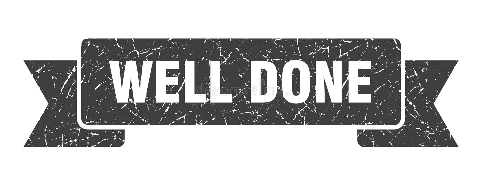 Well done ribbon. Well done vintage sign. banner. well done royalty free illustration