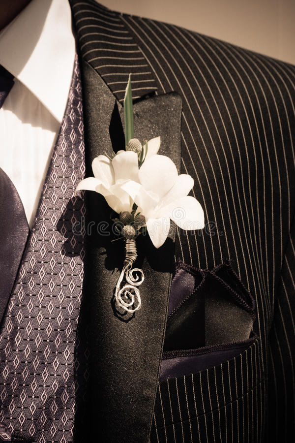 Well Dressed Man. A well dressed man in a pin stripe suit, with a patterned tie stock photos