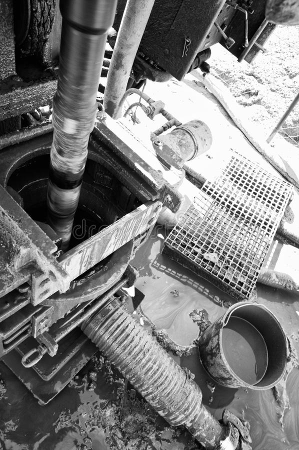 Well drilling. Machinery. Black and white stock photos