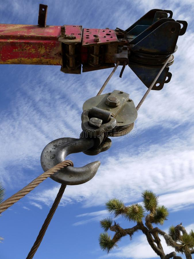 Well-drilling truck: crane hook royalty free stock photo