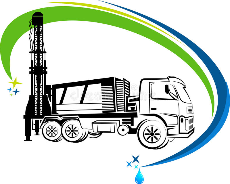 Well drilling truck logo. With background stock illustration
