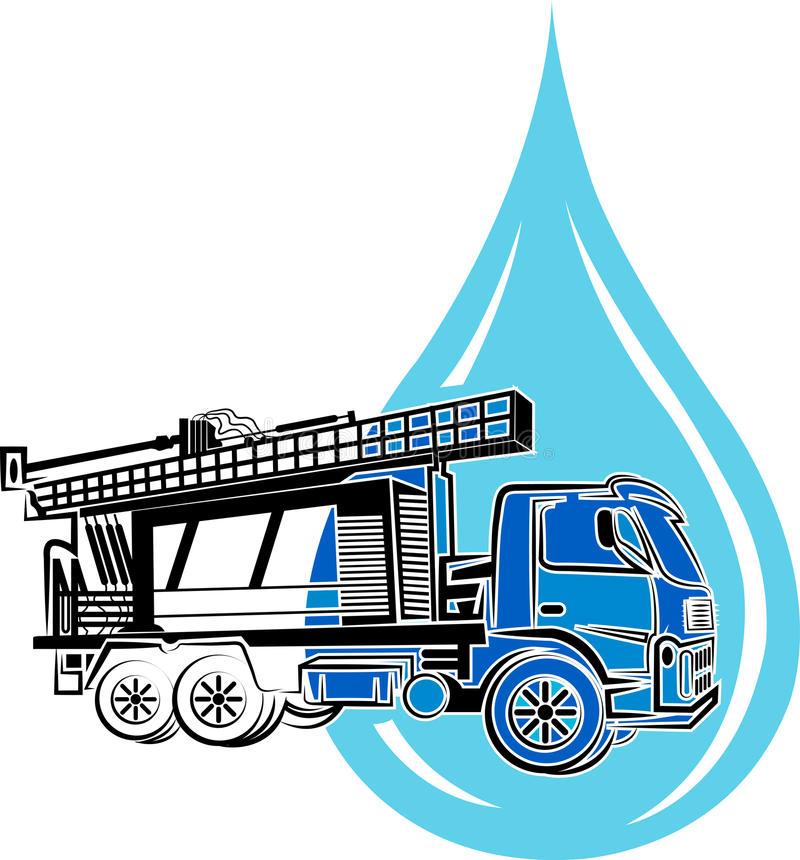 Well drilling truck logo. With background vector illustration