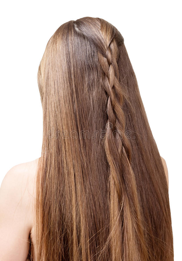 Well-groomed, beautiful hair young girl partially braided in braid. Isolated on white background. Well-groomed, beautiful hair of a young girl partially braided royalty free stock photo