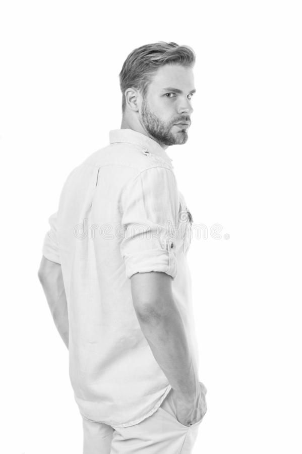 Well groomed handsome man isolated white background. Bearded man. Fashion shop. Man with stylish hair and healthy skin stock photo