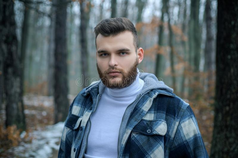 Well groomed hipster. Lumbersexual concept. Bearded lumberjack checkered clothes. Brutal man walk in forest. Hipster stock image