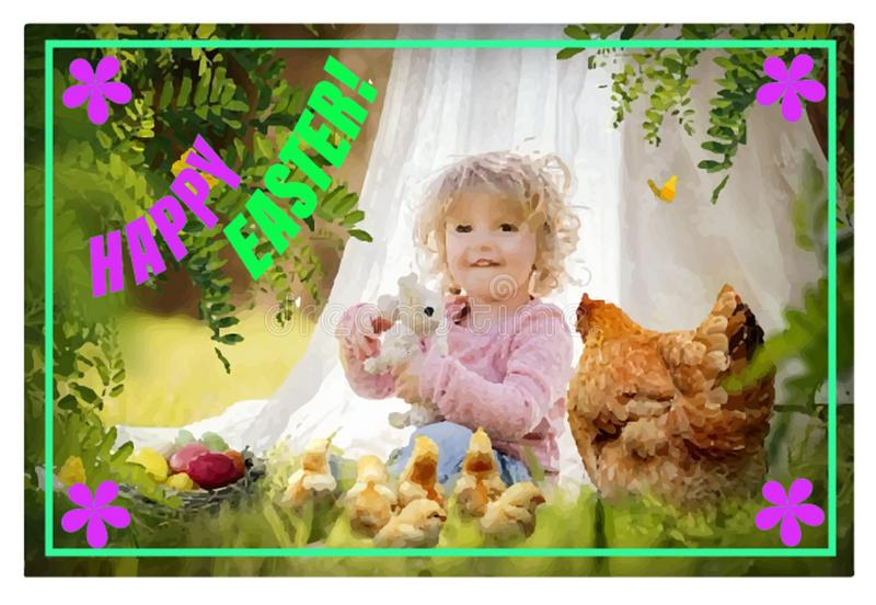 描述兔子和一个愉快的复活节假日的愿望的明信片 免版税库存图片
