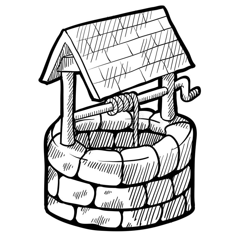 Well house sketch stock illustration