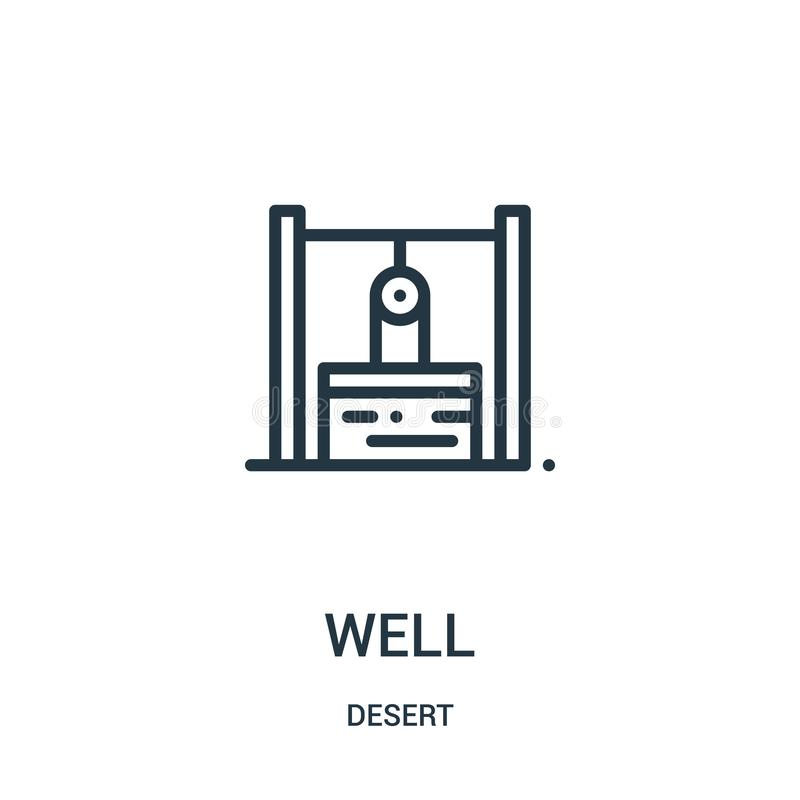 well icon vector from desert collection. Thin line well outline icon vector illustration. Linear symbol for use on web and mobile stock illustration