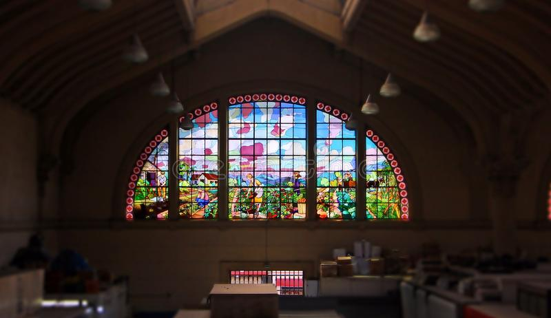 The well kept stained glass in a market. stock photography