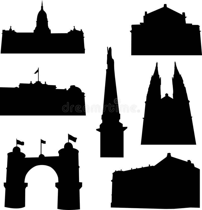 Well-known Argentina architecture vector illustration
