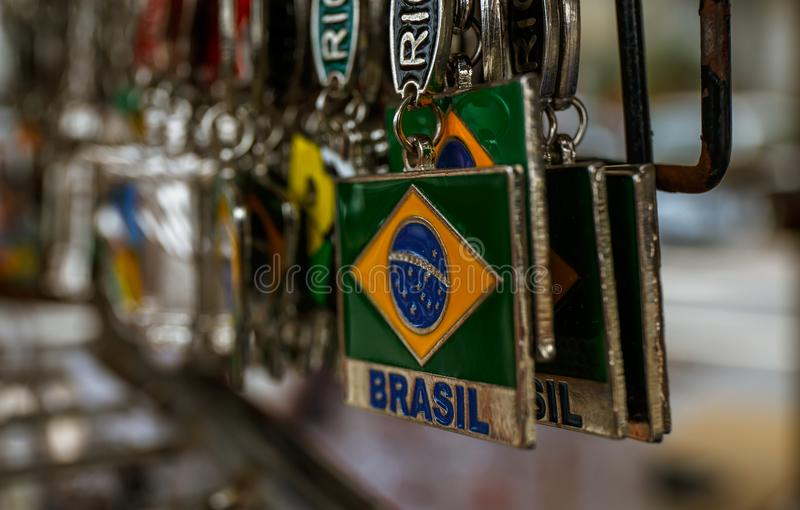 Famous Brazilian souvenir. The Flag of Brazil. stock photography