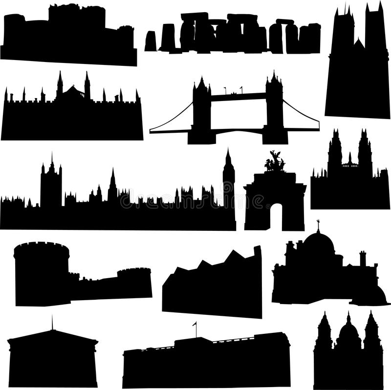 Well-known British building. British's famous historic buildings and world cultural heritage vector illustration