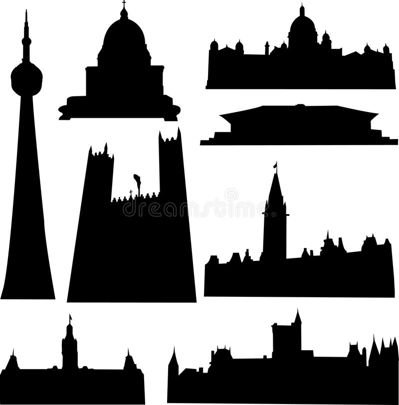 Well-known Canada architecture royalty free illustration