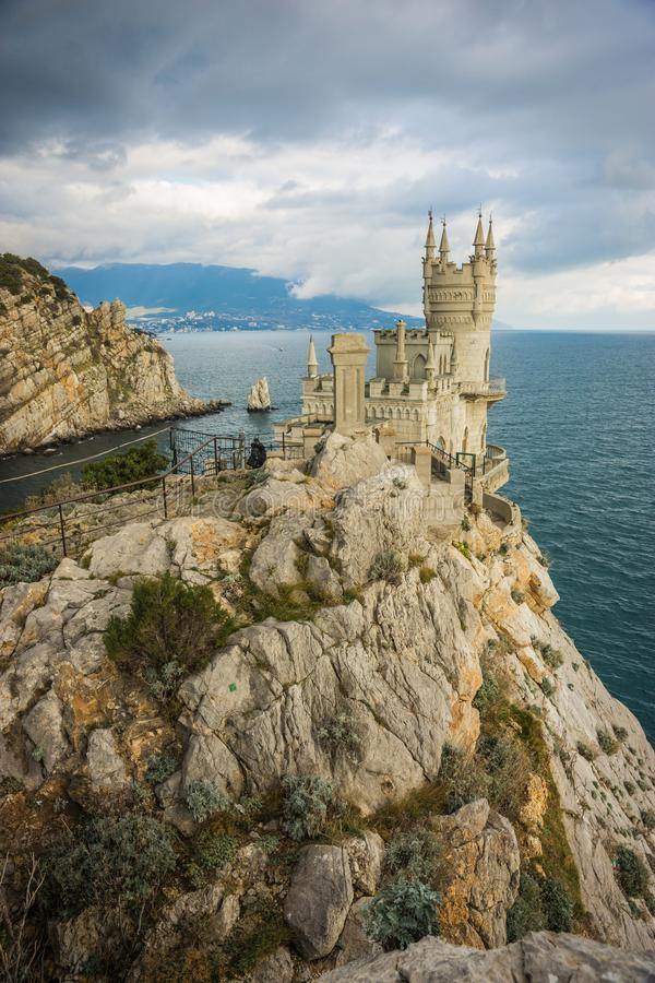 Well-known Swallow`s Nest castle on rock at Black Sea, Crimea, R royalty free stock images