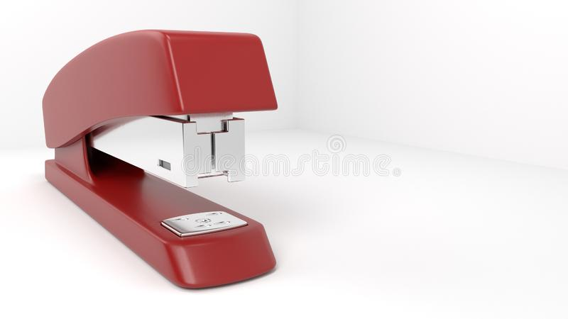 Dramatic Red Stapler Shot. Well lit, dramatic red office stapler from the front at a unique perspective and angle royalty free illustration