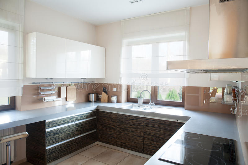 Well-organized kitchen interior. In traditional style royalty free stock photos