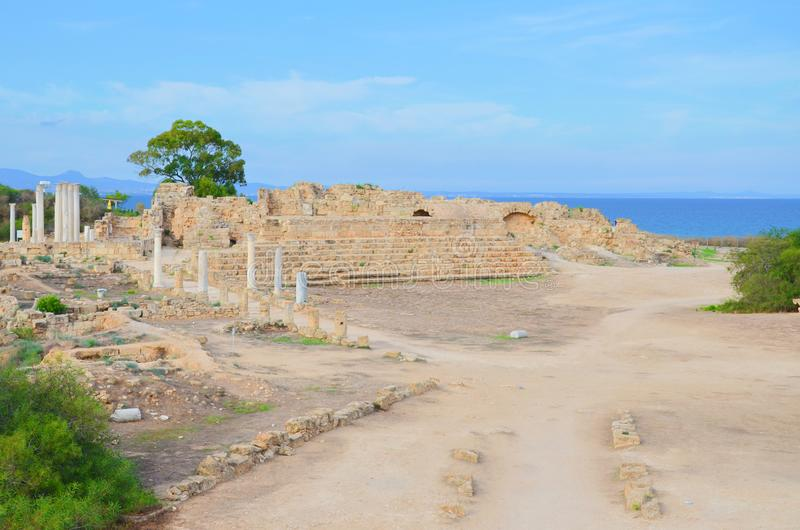 Well preserved ruins of Antique city Salamis located in Turkish Northern Cyprus. Located by the sea near Cypriot Famagusta. One of the most popular tourist stock images