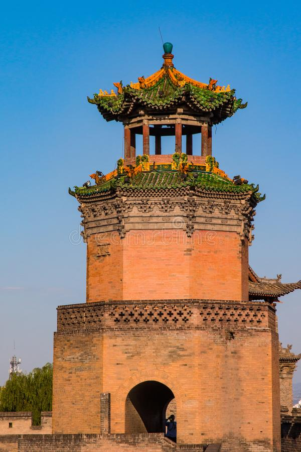 Well preserved watch tower. On the wall protecting the ancient city of Pingyao stock photo