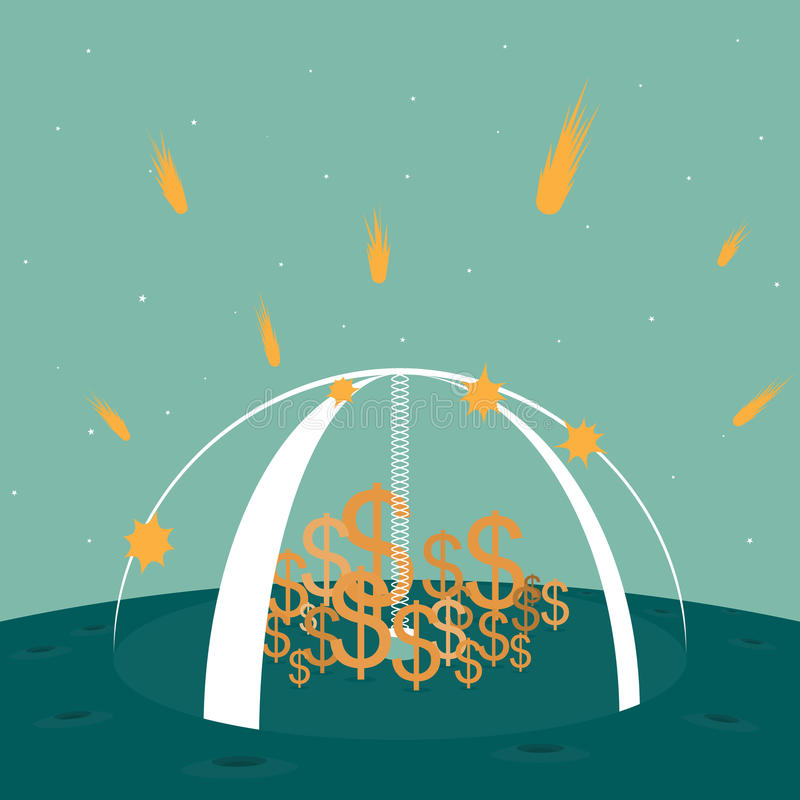 Well Protected Dollars. Vector illustration of dollar symbols protected by a strong shield from falling meteors in a science fiction setting royalty free illustration