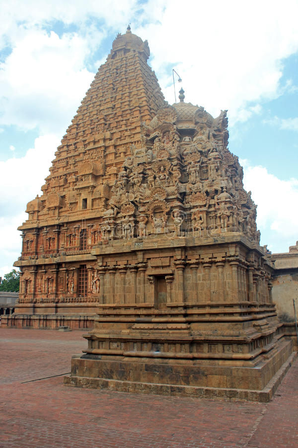 Towers Of Sri Brihadeswara Temple, Thanjavur, Tamilnadu, India. Towers of the Temple to Lord Brihadeswara in Thanjavur, Tamilnadu. India. Known also as the Big stock image