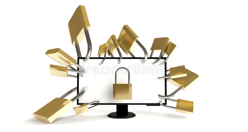 Download Well-secured PC stock illustration. Image of locked, internet - 21251957