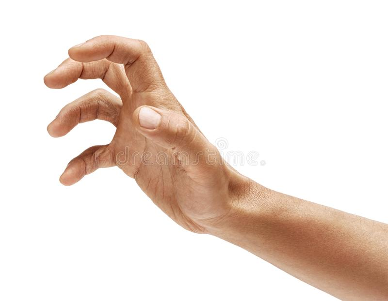 Well shaped man`s hand reaching for something isolated on white background. stock images