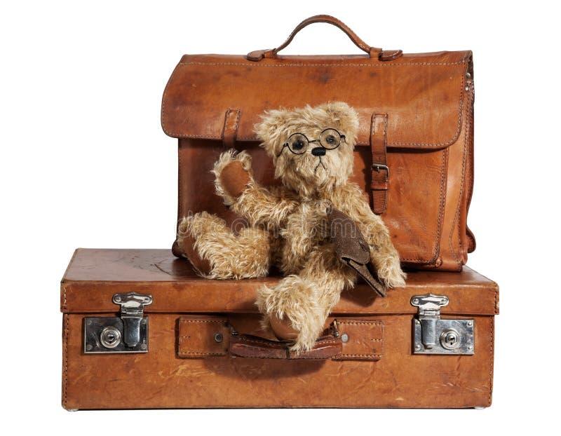 Well-Traveled tappningresväska och nallebjörn royaltyfria foton