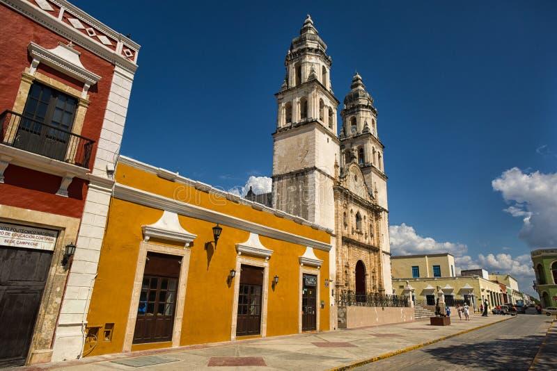 Well utrzymana kolonialna architektura w Campeche Meksyk zdjęcie royalty free