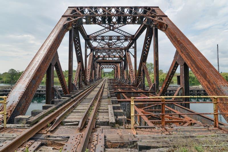 Welland Canal Truss Swing Bridge arkivfoto