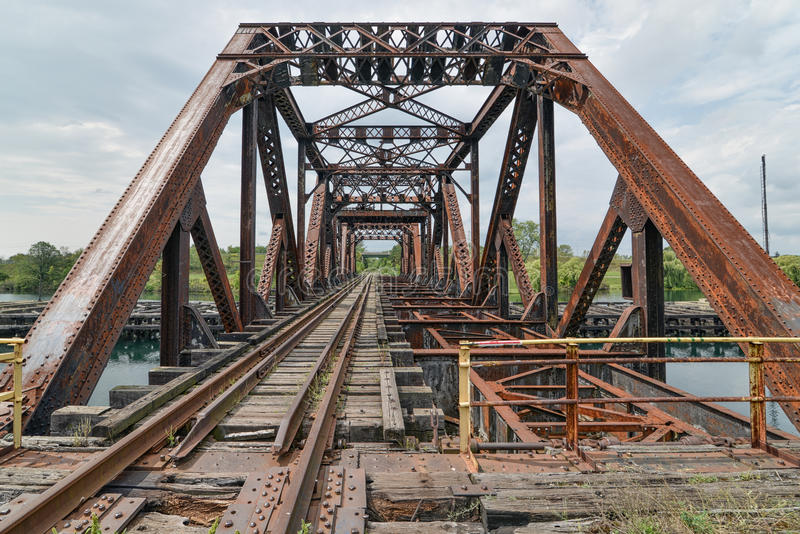 Welland Kanałowy Kratownicowy Huśtawkowy most zdjęcie stock