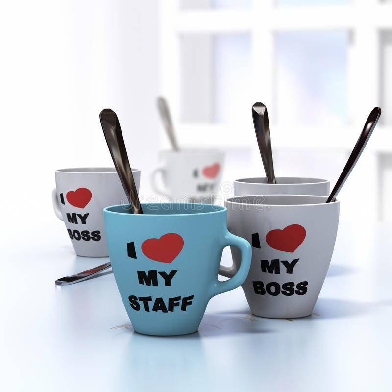 Wellbeign at Work. Conceptual 3D render image with depth of field blur effect. Many mugs where it is written I love my staff and my boss, symbol of wellbeign at stock illustration