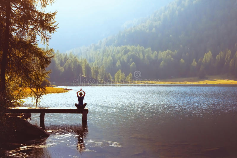 Wellbeing and healthy lifestyle concept. Yoga background stock image