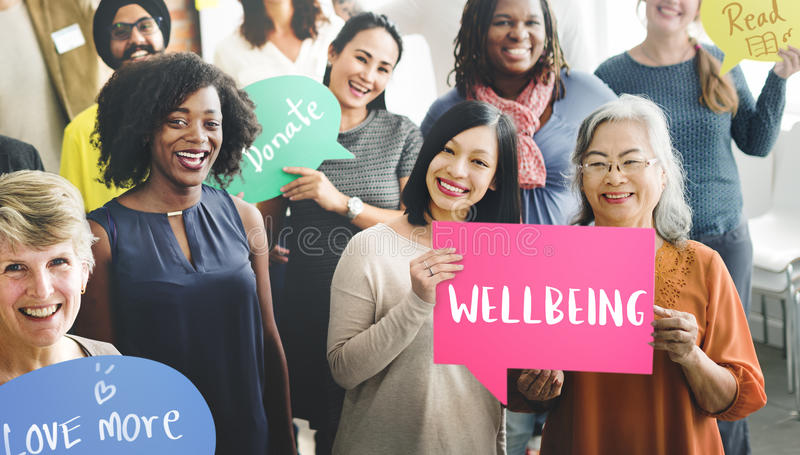 Wellbeing Positivity Mindset Thinking Wellness Concept. People Discuss Wellbeing Positivity Mindset Wellness royalty free stock photos